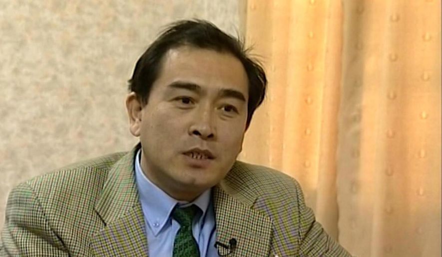 This is an image taken from video taken on April 5, 2004, of Thae Yong Ho, North Korean diplomat speaking  during an interview in Pyongyang. North Korea diplomat Thae Yong Ho who was based in London has defected, according to South Korean officials. (AP Photo)