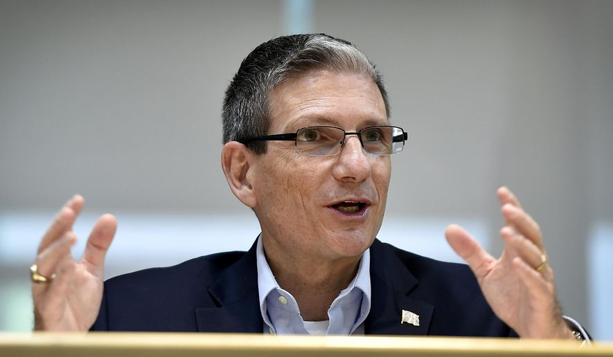 FILE - In this Thursday, June 2, 2016 file photo, U.S. Rep. Joe Heck, R-Nev., speaks during a roundtable event in Henderson, Nev. Three new commercials hit Nevada airwaves this week in a high-stakes race to replace Sen. Harry Reid, which is key in both parties' fight for control of the Senate and is one of the most expensive contests of its kind in the country, Wednesday, Aug. 17, 2016. (AP Photo/David Becker, File)