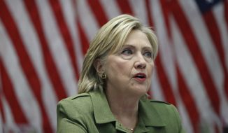 Democratic presidential candidate Hillary Clinton speaks to media as she meets with law enforcement leaders at John Jay College of Criminal Justice in New York, N.Y., Thursday, Aug. 18, 2016. (AP Photo/Carolyn Kaster)