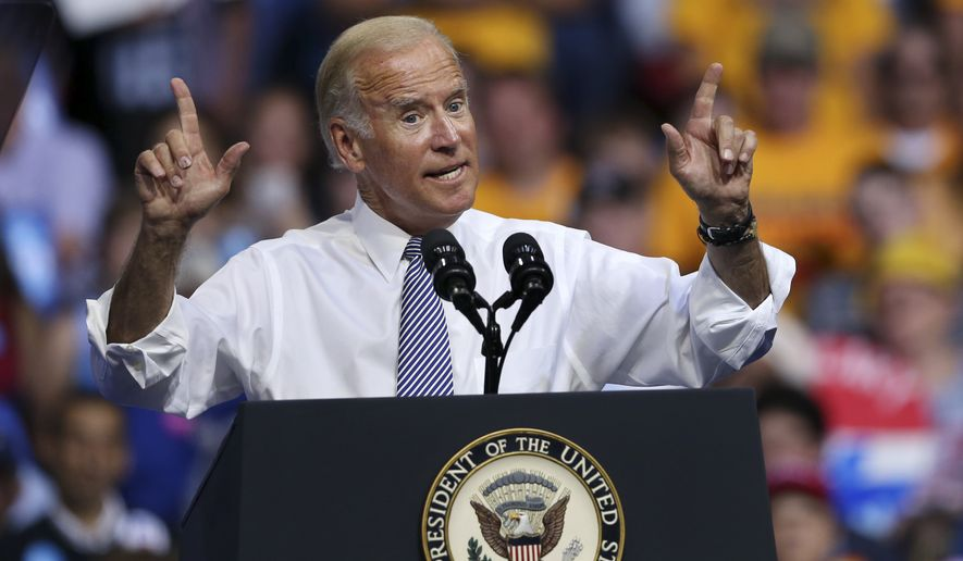 Vice President Joe Biden addresses a gathering during a campaign rally with Democratic presidential candidate Hillary Clinton Monday, Aug. 15, 2016, in Scranton, Pa. (AP Photo/Mel Evans) ** FILE **