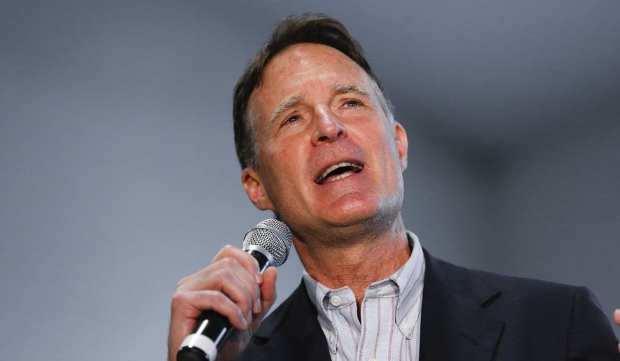 Evan Bayh speaks at a Hillary Clinton campaign stop in Indianapolis on May 1. (Associated Press)