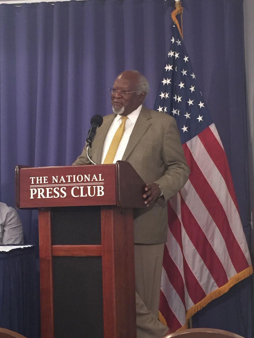 Dr. Julius Garvey, the youngest son of the late black nationalist leader Marcus Garvey, holds an Aug. 17 press conference at the National Press Club in Washington, D.C. Dr. Garvey and other social activists are calling on President Obama to issue a posthumous pardon to Garvey, who was convicted of mail fraud in 1923 based on what some call a racially motivated investigation orchestrated by FBI Director J. Edgar Hoover. Photo by Julia Porterfield / The Washington Times
