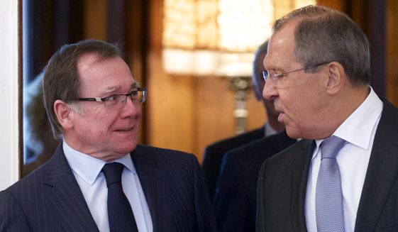 Russia's Foreign Minister Sergey Lavrov, right, welcomes his New Zealand's counterpart Murray McCully during their meeting in Moscow, Russia, on Wednesday, Aug. 17, 2016. (AP Photo/Ivan Sekretarev)