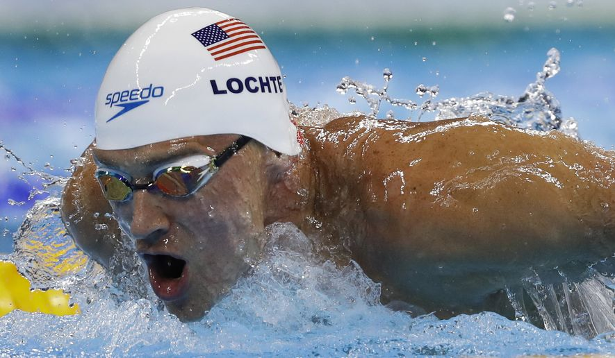 Ryan Lochte of the United States competes in a men's 200-meter individual medley heat at the 2016 Summer Olympics on Aug. 10 in Rio de Janeiro, Brazil. (Associated Press)