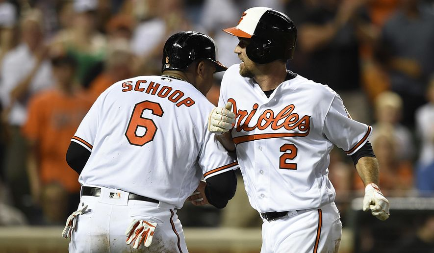 Baltimore Orioles' J.J. Hardy, right, celebrates his two-run home run with Jonathan Schoop, who also scored on the play against the Houston Astros in the fourth inning of a baseball game, Thursday, Aug. 18, 2016, in Baltimore. (AP Photo/Gail Burton)
