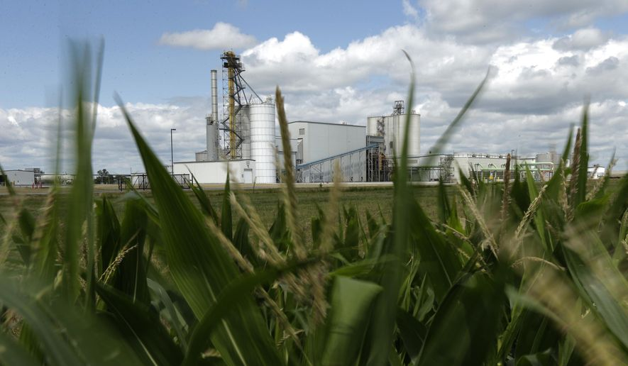 An ethanol plant stands next to a cornfield near Nevada, Iowa. (AP Photo/Charlie Riedel, File) **FILE**