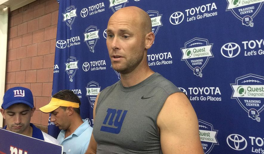 New York Giants kicker Josh Brown speaks with reporters at NFL football training camp, Thursday, Aug. 18, 2016, in East Rutherford, N.J. Brown has confirmed that an arrest on a domestic violence charge in May 2015 led to his one-game suspension by the NFL for violating the league's personal conduct policy. (AP Photo/Tom Canavan) **FILE**