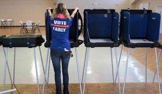 Erika Davidson sets up voting booths at the Panama City Beach Senior Center on Friday, Aug. 19, 2016, in Panama City Beach, Fla. (Heather Leiphart/News Herald via AP)