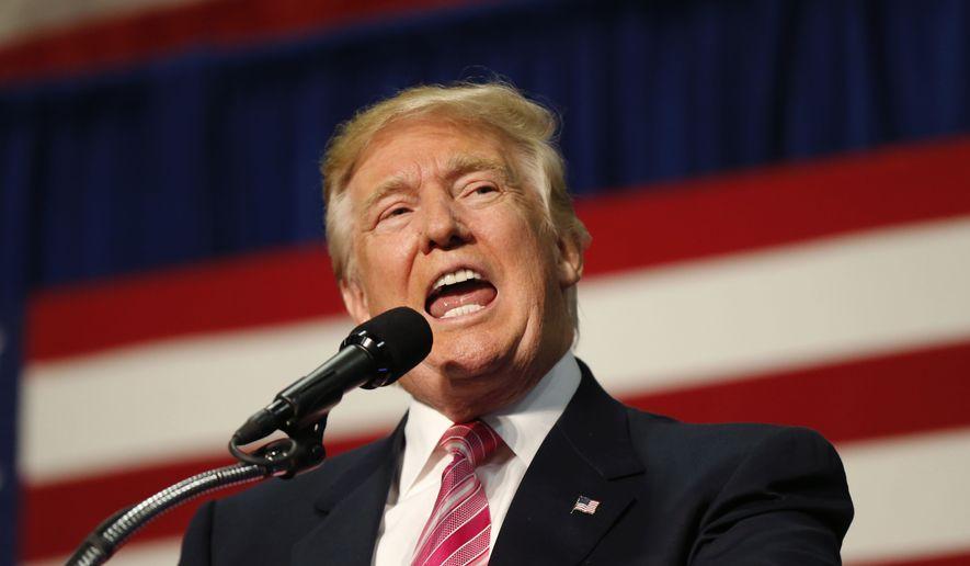 Republican presidential candidate Donald Trump speaks at a campaign rally in Fredericksburg, Va., Saturday, Aug. 20, 2016. (AP Photo/Gerald Herbert)