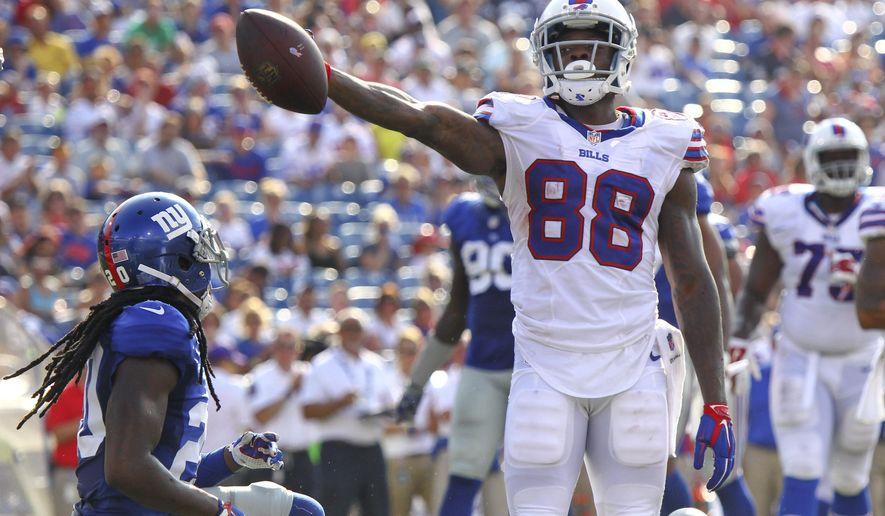 Buffalo Bills wide receiver Marquise Goodwin (88) reacts after gaining a first down against the New York Giants inside their five yard line during the second quarter of a preseason NFL football game, Saturday, Aug. 20, 2016, in Buffalo, N.Y. (AP Photo/Jeffrey T. Barnes)