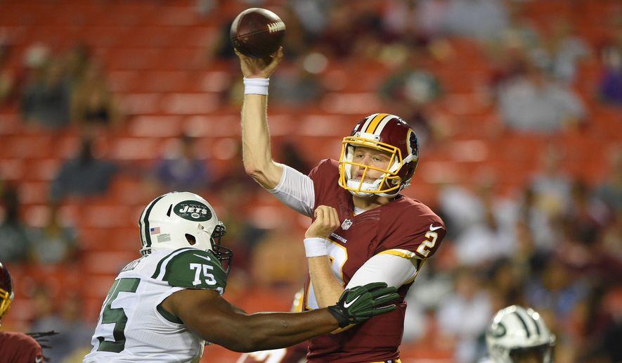 Rookie quarterback Nate Sudfeld led the Washington Redskins on an 84-yard game-winning scoring drive on Friday. (Associated Press)