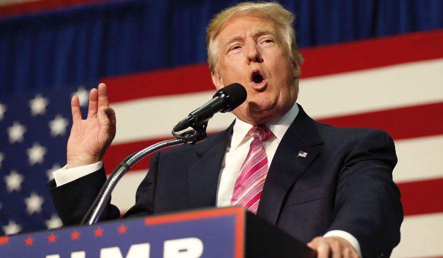 Donald Trump speaks at a campaign rally Saturday in Fredericksburg, Virginia. (Associated Press)