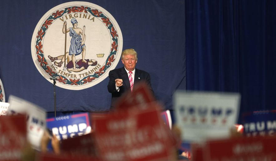 Donald Trump acknowledges the crowd after speaking at a campaign rally Saturday in Fredericksburg, Virginia. (Associated Press)