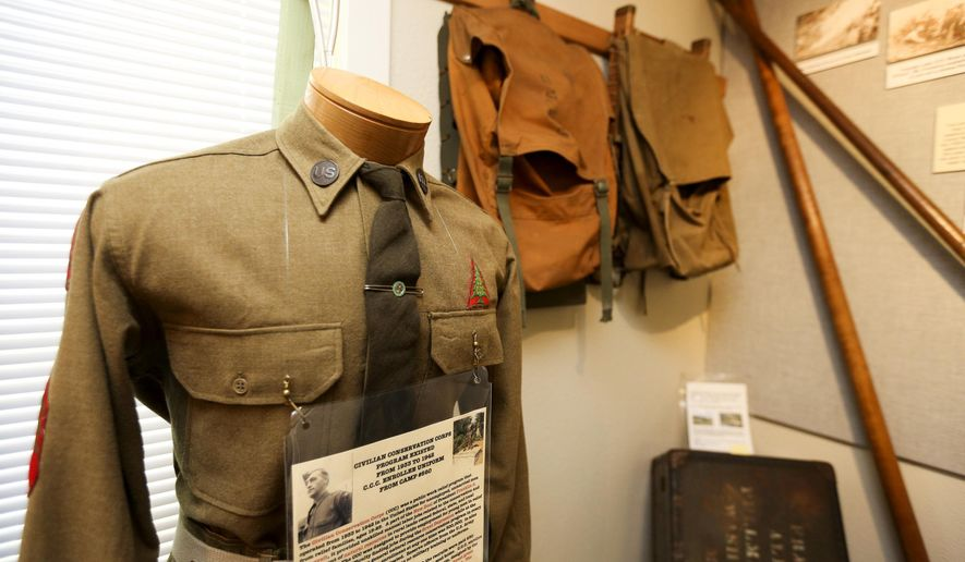 A Civilian Conservation Corps enrollee uniform from the 1930s is on display at the Forest History Center on Wednesday, July 20, 2016. (Molly J. Smith/Statesman Journal via AP)