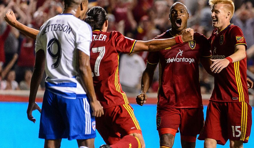 Real Salt Lake defender Jamison Olave (4) celebrates his goal against FC Dallas during an MLS soccer match in Sandy, Utah, Saturday, Aug. 20, 2016. (Trent Nelson/The Salt Lake Tribune via AP)