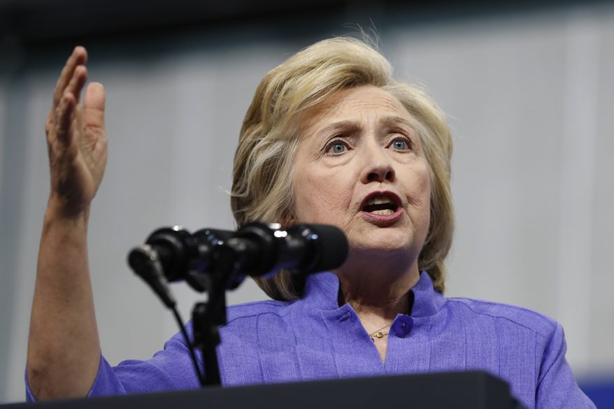 Democratic presidential candidate Hillary Clinton speaks in Scranton, Pa. (AP Photo/Carolyn Kaster, File)