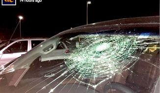Brandon Thomas of the Frontier League's Gateway Grizzlies broke his own truck's windshield with a grand slam on Sunday, Aug. 21, 2016. (Facebook, Gateway Grizzlies)