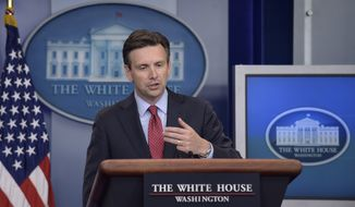 White House press secretary Josh Earnest speaks during the daily briefing at the White House in Washington, Monday, Aug. 22, 2016. Earnest answered questions about Iran, Donald Trump and the president's upcoming visit to Baton Rouge, La. (AP Photo/Susan Walsh)