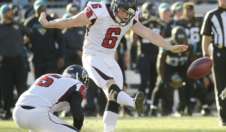 FILE - In this Dec. 20, 2015, file photo, Atlanta Falcons kicker Shayne Graham (6) kicks a 33-yard field goal against the Jacksonville Jaguars during the second half of an NFL football game in Jacksonville, Fla. Veteran kicker Shayne Graham has returned for a second stint with the Falcons, a signing that could be an indication that Matt Bryant's leg injury may be more serious than initially believed.  (AP Photo/Phelan M. Ebenhack, File)