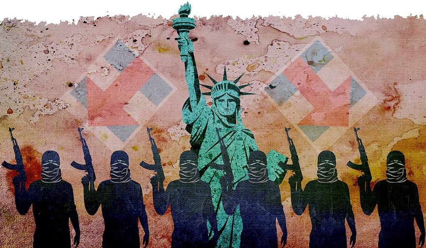 Terrorists Present in the U.S. Illustration by Greg Groesch/The Washington Times