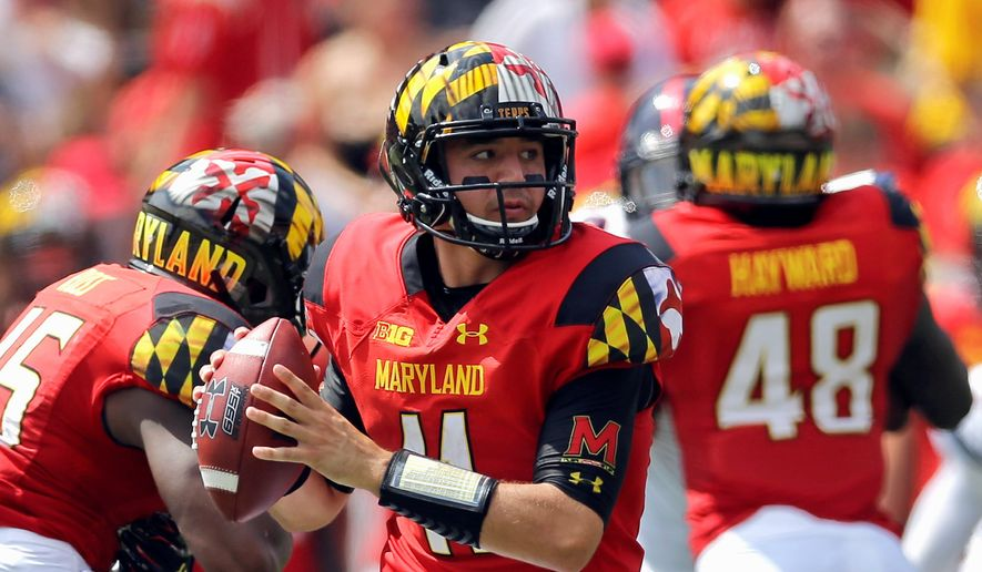 Maryland senior Perry Hills has the edge over Caleb Rowe in the competition for the starting quarterback job because of his ability to run with the ball. (Associated Press Photographs)
