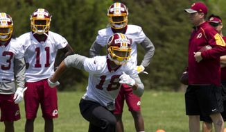 In this May 14, 2016 file photo, Washington Redskins wide receiver Josh Doctson, 18, works out during NFL football rookie minicamp in Ashburn, Va. (AP Photo/Jose Luis Magana, File)