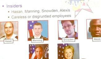 """The U.S. Army confirmed that one of its unit's used Hillary Clinton as an example of an """"insider"""" who was a threat to operational security. The briefing slide in question is no longer in use. (Facebook, U.S. Army WTF moments)"""