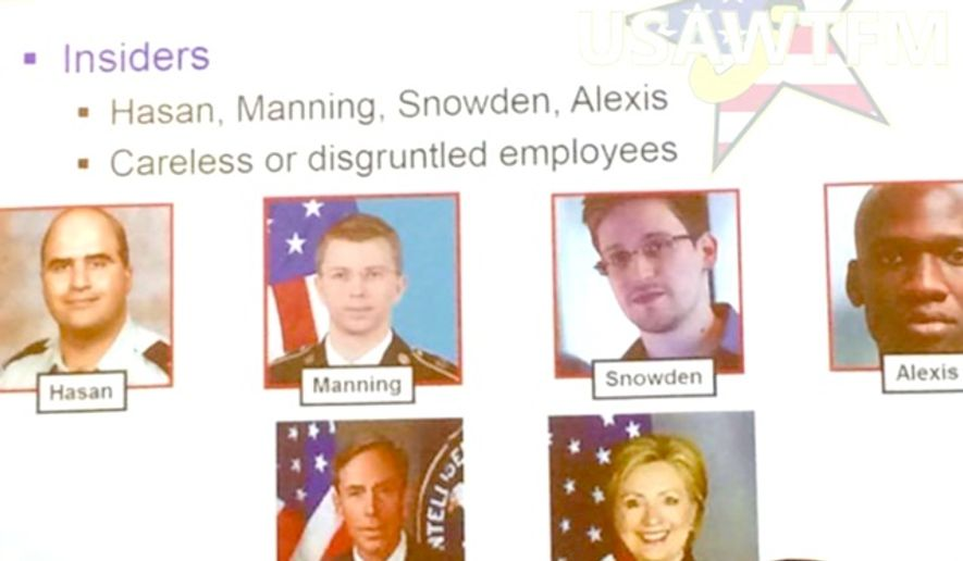 "The U.S. Army confirmed that one of its unit's used Hillary Clinton as an example of an ""insider"" who was a threat to operational security. The briefing slide in question is no longer in use. (Facebook, U.S. Army WTF moments)"