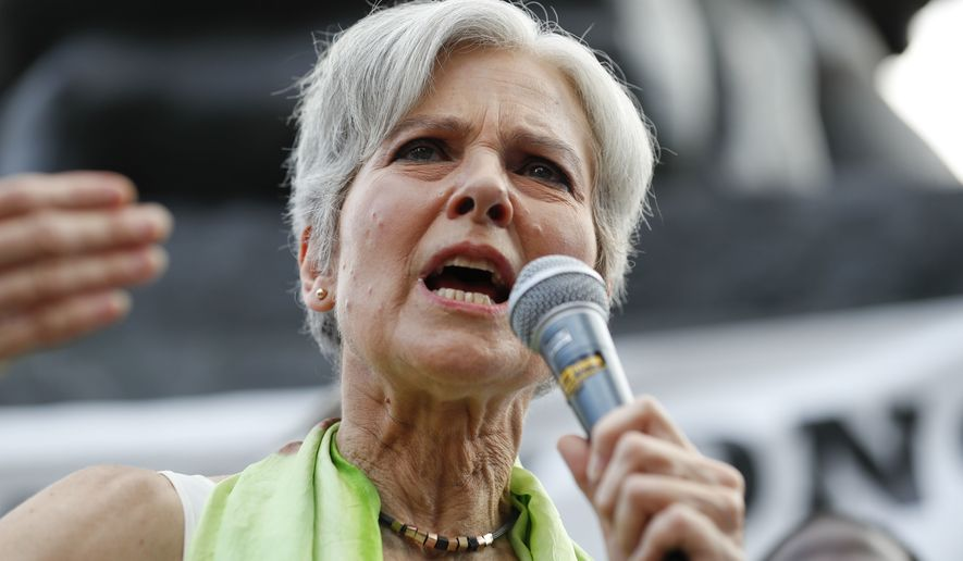 Dr. Jill Stein, presumptive Green Party presidential nominee, speaks at a rally in Philadelphia on July 27, 2016, during the third day of the Democratic National Convention. (Associated Press) **FILE**