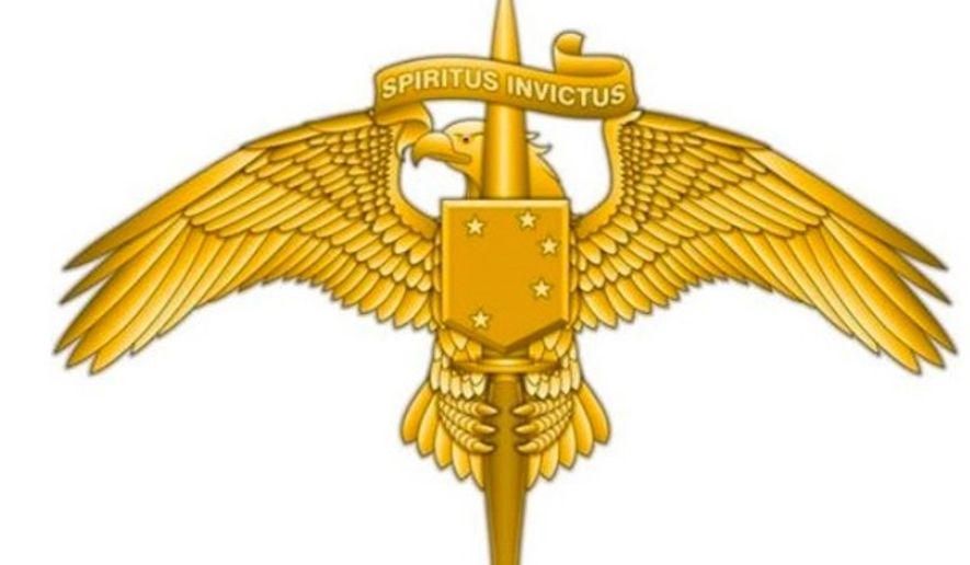 "Marine Corps Forces Special Operations Command will now have its own insignia, which features the motto ""Spiritus Invictus,"" or unconquerable spirit. (U.S. Marine Corps)"