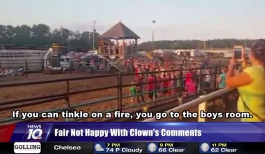 """""""Rockin"""" Robbie Hodges, a Michigan rodeo clown, caused a stir last week after he joked about gender identity at the Calhoun County Fair. (WILX)"""