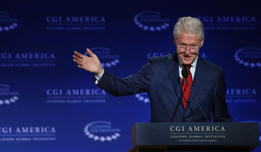 In this June 10, 2015, file photo, former U.S. President Bill Clinton speaks at annual gathering of the Clinton Global Initiative America, which is a part of the Clinton Foundation, in Denver. (AP Photo/Brennan Linsley, File)