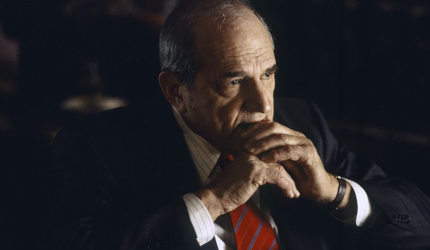 """This 1998 image released by NBC shows actor Steven Hill as D.A. Adam Schiff in a scene from """"Law & Order.""""  Hill died Tuesday, Aug. 23, 2016,  at Mount Sinai hospital in New York. He was 94. (Jessica Burstein/NBCU Photo Bank via AP)"""