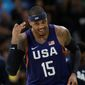 Carmelo Anthony is the U.S.' all-time leader in games, points and rebounds to go along with three team gold medals. (Associated Press)
