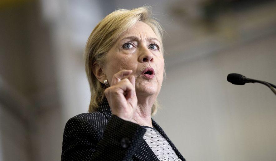 Democratic presidential candidate Hillary Clinton. **File  (AP Photo/Andrew Harnik, File)