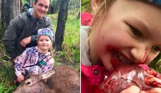 "A New Zealand hunter is defending his parenting skills after a photo of his 8-year-old daughter biting a dead deer's ""warm, quivering heart"" went viral. (Facebook/NZ Woman Hunters)"