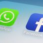 WhatsApp and Facebook app icons on a smartphone in New York in this February 19, 2014 file photo. Global messaging service WhatsApp says it will start sharing the phone numbers of its users with Facebook, its parent company. That means WhatsApp users could soon start seeing more targeted ads on Facebook, although not on the messaging service itself. (AP Photo/Patrick Sison, File)