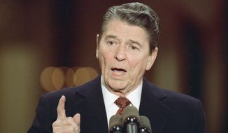 President Reagan makes a point during a news conference in the East Room of the White House on Dec. 8, 1988. (Associated Press)