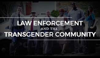 """Screen capture from a DOJ training video released on August 24, 2016, titled, """"Law Enforcement and the Transgender Community - CRS Roll Call Training Video"""""""