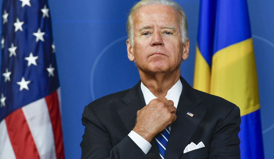 U.S. Vice President Joe Biden is pictured during a press conference at the Swedish government offices Rosenbad in Stockholm, Thursday Aug. 25, 2016. Biden's one-day visit to Sweden will focus on global migration challenges ahead of a September summit  in New York on refugees. (Anders Wiklund/ TT News Agency via AP)