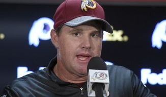 Washington Redskins head coach Jay Gruden speaks during a media availability after an NFL preseason football game against the Buffalo Bills, Friday, Aug. 26, 2016, in Landover, Md. The Redskins won 21-16. (AP Photo/Nick Wass) **FILE**