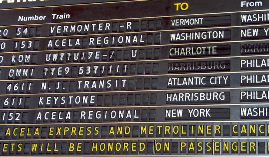 The Solari flipboard at Philadelphia's 30th Street train station. It will be removed by Amtrak and replaced with an electronic display, Philadelphia magazine reported on August 25. Image is in the public domaind, under a Creative Commons license by Foxtrod. Photo accessed via Philadelphia magazine's website on August 26, 2016.