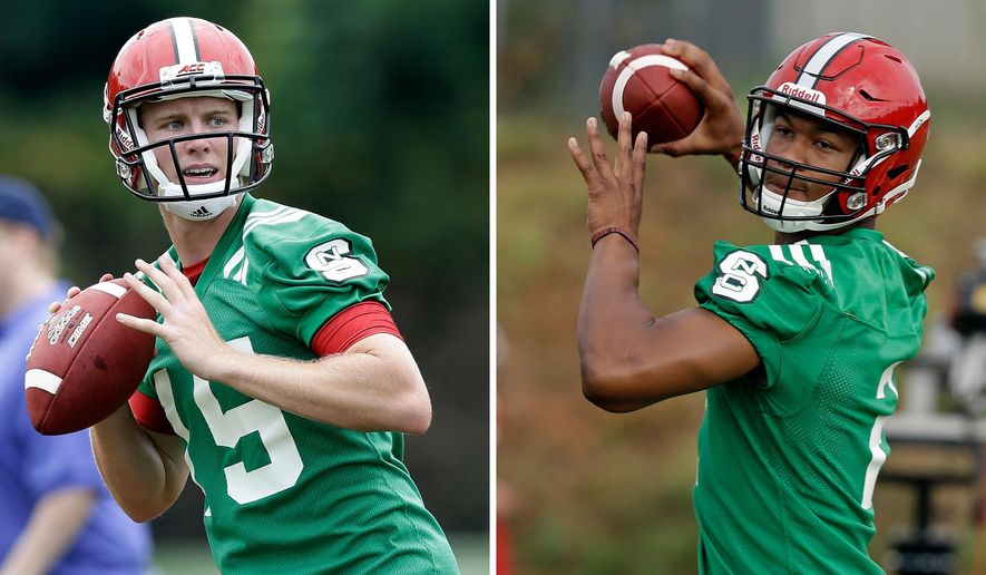 FILE - At left, in an Aug. 1, 2016, file photo, North Carolina State quarterback Ryan Finley (15) throws during the team's first NCAA college football practice of the season in Raleigh, N.C. At right, also in an Aug. 1, 2016, file photo, North Carolina State quarterback Jalan McClendon throws during the team's first NCAA college football practice of the season in Raleigh, N.C. North Carolina State isn't ready to name a starting quarterback just yet, though it sounds as though redshirt sophomore McClendon and graduate transfer Finley will both see action against William & Mary in next week's opener. (AP Photo/Gerry Broome, File)