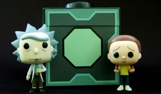 Pop! Animation Rick Sanchez and Morty Smith stand in from of Cryptozoic Entertainment's Mr. Meeseeks' Box O' Fun. (Photograph by Joseph Szadkowski / The Washington Times)
