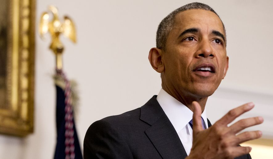 In this Jan. 17, 2016, file photo, President Obama speaks about the release of Americans by Iran, in the Cabinet Room of the White House in Washington. A $400 million cash delivery to Iran to repay a decades-old arbitration claim may be unprecedented in recent U.S. history, according to legal experts and diplomatic historians, raising further questions about a payment timed to help free four American prisoners in Iran. (AP Photo/Jacquelyn Martin, File)