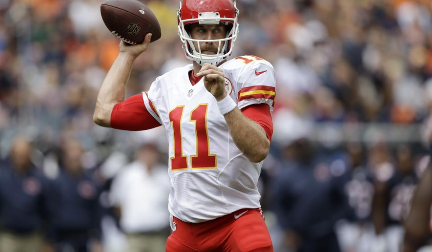 Kansas City Chiefs quarterback Alex Smith (11) throws a pass during the first half of an NFL preseason football game against the Chicago Bears, Saturday, Aug. 27, 2016, in Chicago. (AP Photo/Tom Lynn)