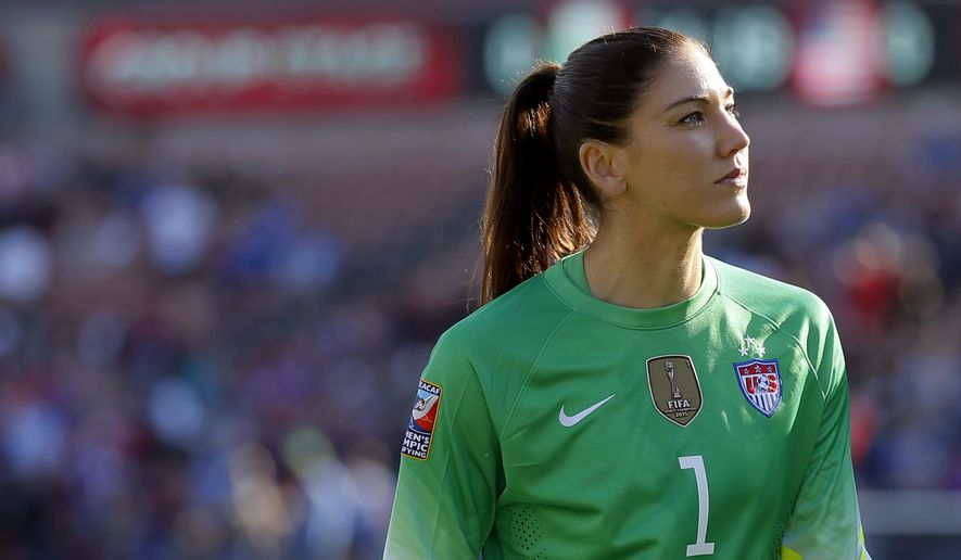 FILE - In this Feb. 13, 2016, file photo, United States goalie Hope Solo walks off the field at half time of a CONCACAF Olympic qualifying tournament soccer match against Mexico in Frisco, Texas. Solo has taken an indefinite leave from the Seattle Reign of the National Women's Soccer League, less than a week after being suspended for six months by the U.S. national team for disparaging remarks about Sweden, the Reign announced Saturday, Aug. 27, 2016. (AP Photo/Tony Gutierrez, File)