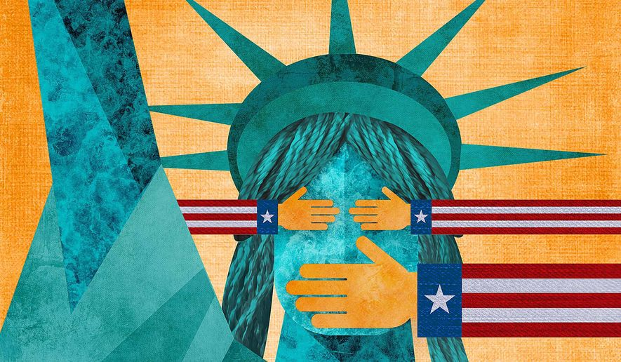 Liberty Censored Illustration by Greg Groesch/The Washington Times