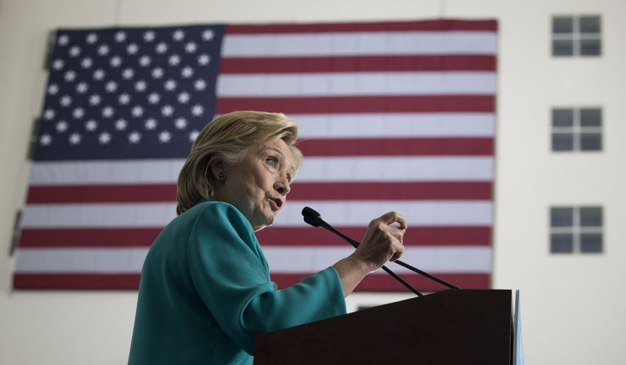 Democratic presidential candidate Hillary Clinton speaks at a campaign event at Truckee Meadows Community College in Reno, Nev., Thursday, Aug. 25, 2016. (AP Photo/Carolyn Kaster)