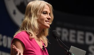 """""""He's going to build the wall, no amnesty, no citizenship, no more sanctuary cities,"""" Trump campaign manager Kellyanne Conway said on """"Fox News Sunday."""" (Associated Press)"""